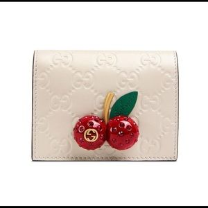 Gucci Signature Card Case with Cherries in White